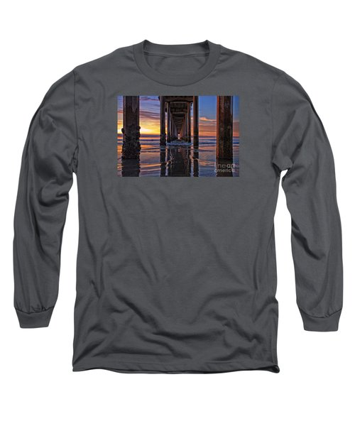 Under The Scripps Pier Long Sleeve T-Shirt by Sam Antonio Photography
