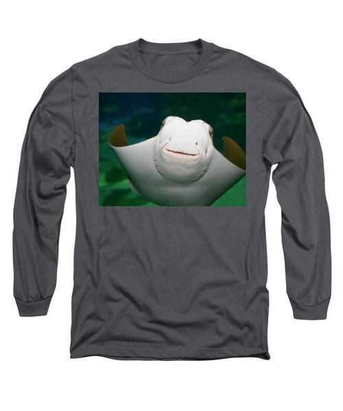 Underside And Face Of A Smiling Stingray In An Aquarium Long Sleeve T-Shirt
