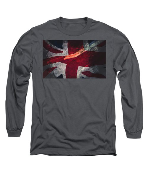 Union Jack Fine Art, Abstract Vision Of Great Britain Flag Long Sleeve T-Shirt