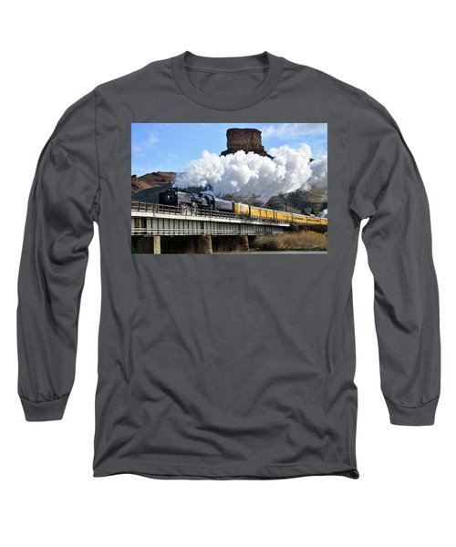 Union Pacific Steam Engine 844 And Castle Rock Long Sleeve T-Shirt by Eric Nielsen