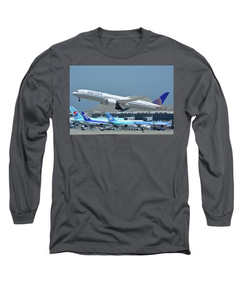 Long Sleeve T-Shirt featuring the photograph United Boeing 787-9 N27965 Los Angeles International Airport May 3 2016 by Brian Lockett