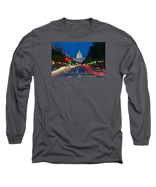 United States Capitol Along Pennsylvania Avenue In Washington, D.c.   Long Sleeve T-Shirt