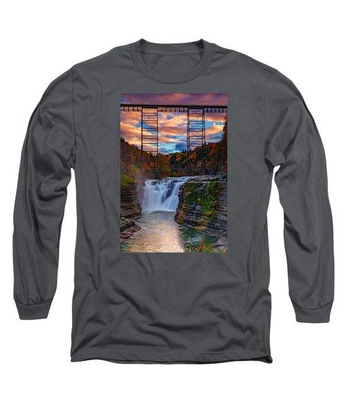 Upper Falls Letchworth State Park Long Sleeve T-Shirt by Rick Berk