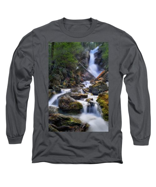 Long Sleeve T-Shirt featuring the photograph Upper Race Brook Falls 2017 by Bill Wakeley