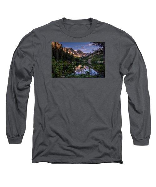 Upper Slate Lake Evening Glow Long Sleeve T-Shirt by Michael J Bauer