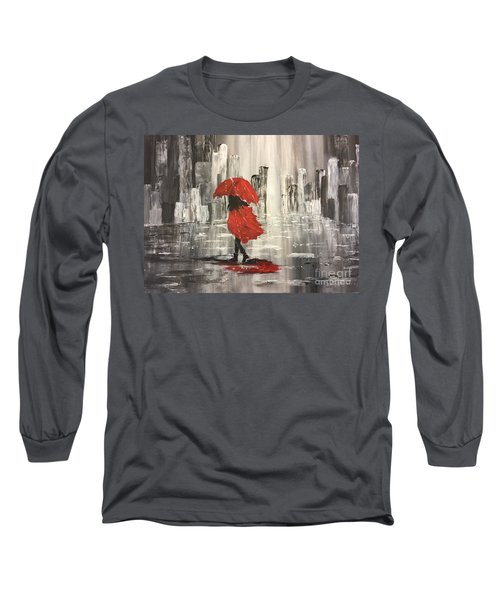 Urban Walk In The Rain Long Sleeve T-Shirt by Lucia Grilletto