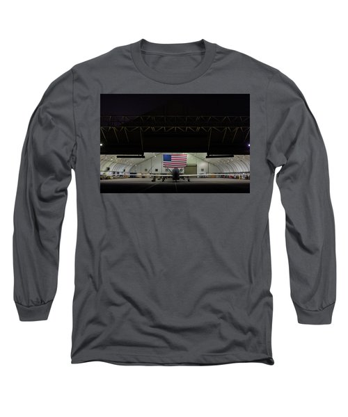 Us Air Force Eq 4 Global Hawk Assigned To The 380th Air Expeditionary Wing Await Routine Maintenance Long Sleeve T-Shirt
