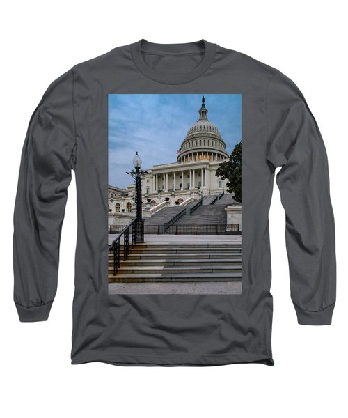 Long Sleeve T-Shirt featuring the photograph Us Capitol Building Twilight by Susan Candelario