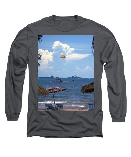 Long Sleeve T-Shirt featuring the photograph Us Navy Off Pattaya by Travel Pics