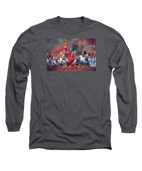 Us Women's Soccer Long Sleeve T-Shirt by Semih Yurdabak