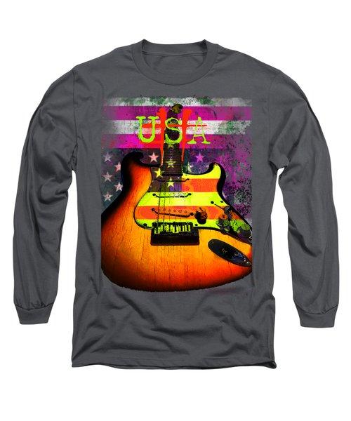 Long Sleeve T-Shirt featuring the digital art Usa Strat Guitar Music by Guitar Wacky