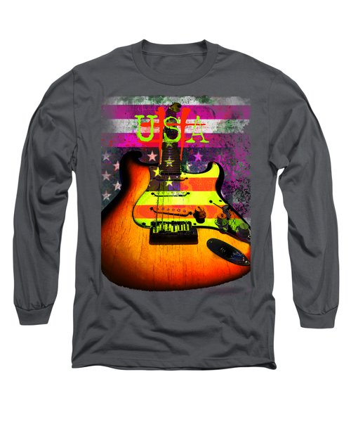 Usa Strat Guitar Music Long Sleeve T-Shirt