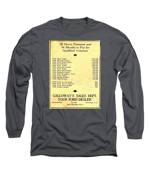 Long Sleeve T-Shirt featuring the photograph Used Car Prices In 1950 - Dealer's Advertisement by Merton Allen