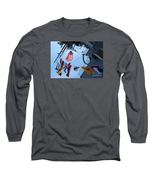 Uss Midway Flag Long Sleeve T-Shirt by Cheryl Del Toro
