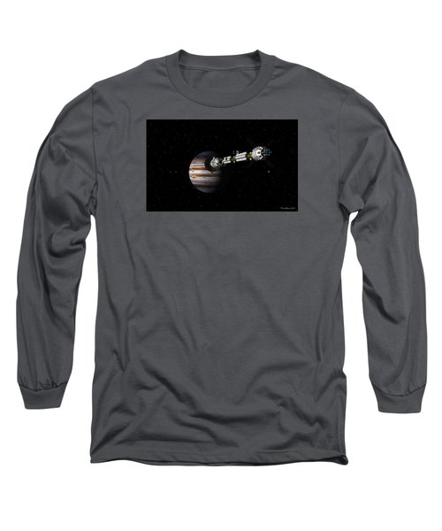 Long Sleeve T-Shirt featuring the digital art Uss Savannah Approaching Jupiter by David Robinson