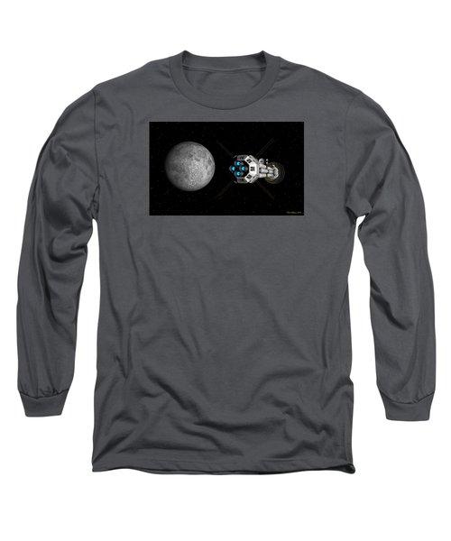 Long Sleeve T-Shirt featuring the digital art Uss Savannah Passing Earth's Moon by David Robinson