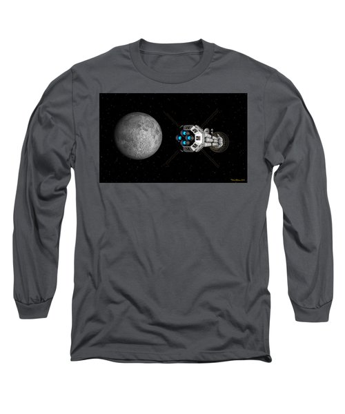 Uss Savannah Passing Earth's Moon Long Sleeve T-Shirt