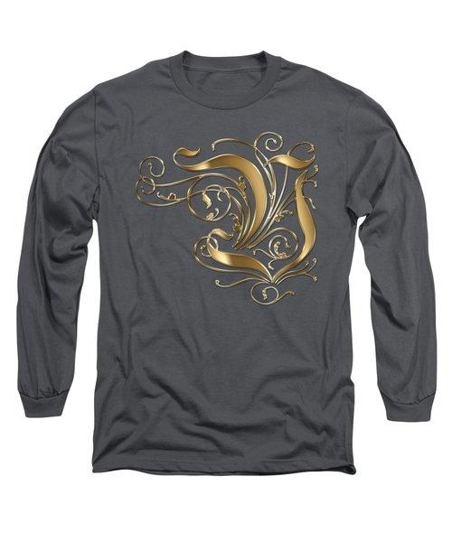 V Golden Ornamental Letter Typography Long Sleeve T-Shirt