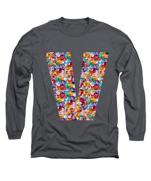V Vv Vvv Jewels Alpha Art On Shirts Alphabets Initials   Shirts Jersey T-shirts V-neck   Navinjoshi  Long Sleeve T-Shirt