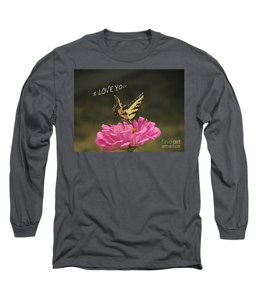 Valentine Zinnia And The Swallowtail Long Sleeve T-Shirt by Debby Pueschel