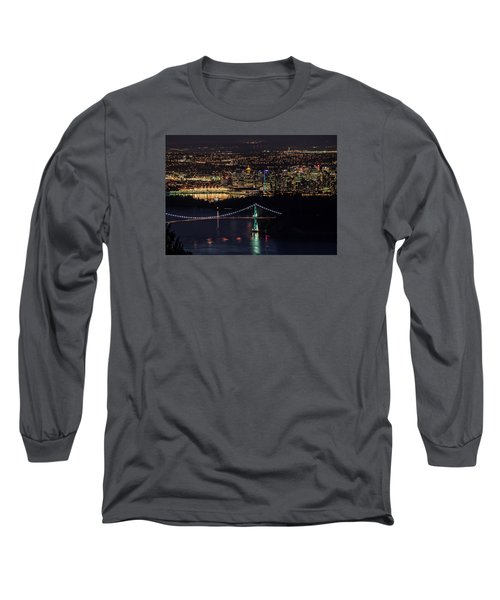 Vancouver Night From Cypress Mountain Long Sleeve T-Shirt