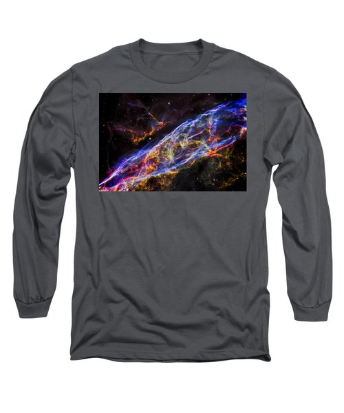 Veil Nebula - Rainbow Supernova  Long Sleeve T-Shirt by Jennifer Rondinelli Reilly - Fine Art Photography