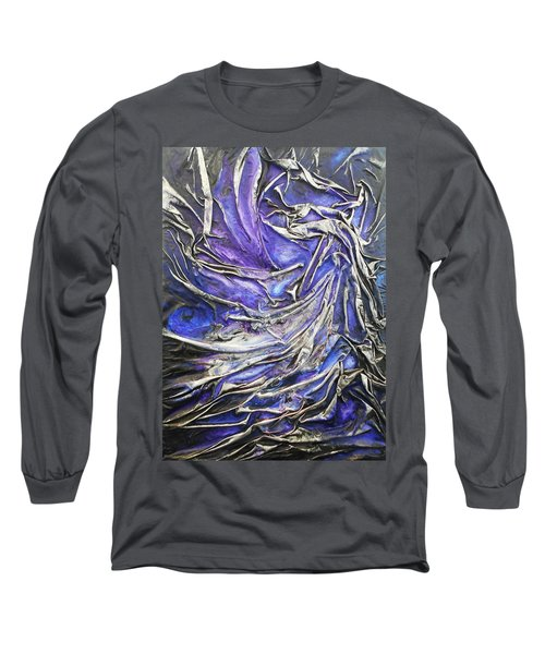 Long Sleeve T-Shirt featuring the mixed media Veiled Figure by Angela Stout