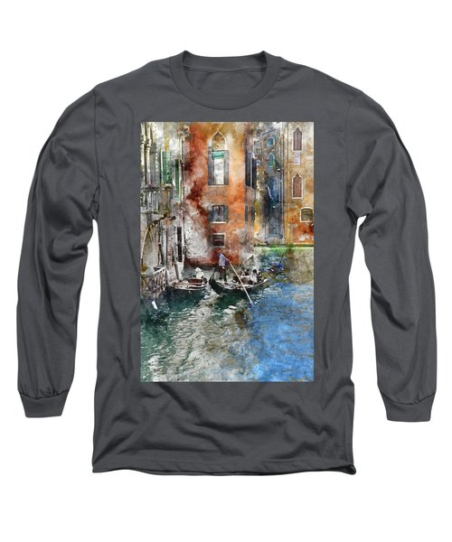 Venetian Gondolier In Venice Italy Long Sleeve T-Shirt