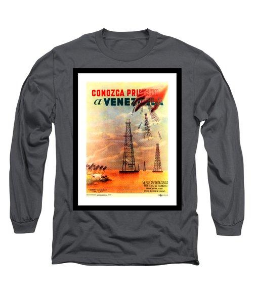 Venezuela Tourism Petroleum Art 1950s Long Sleeve T-Shirt by Peter Gumaer Ogden Collection