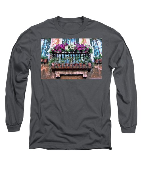 Long Sleeve T-Shirt featuring the photograph Venice Flower Balcony by Allen Beatty