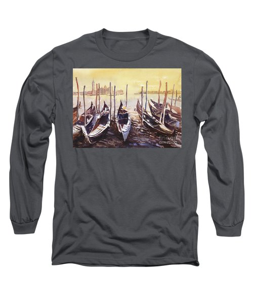 Long Sleeve T-Shirt featuring the painting Venice Watercolor- Italy by Ryan Fox