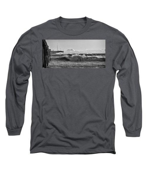 Ventura Pier El Nino 2016 Long Sleeve T-Shirt by John A Rodriguez