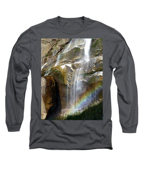 Vernal Falls Rainbow And Plants Long Sleeve T-Shirt by Amelia Racca