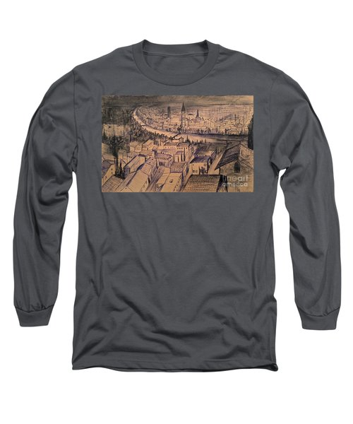 Long Sleeve T-Shirt featuring the drawing Verona Birdview Drawing by Maja Sokolowska