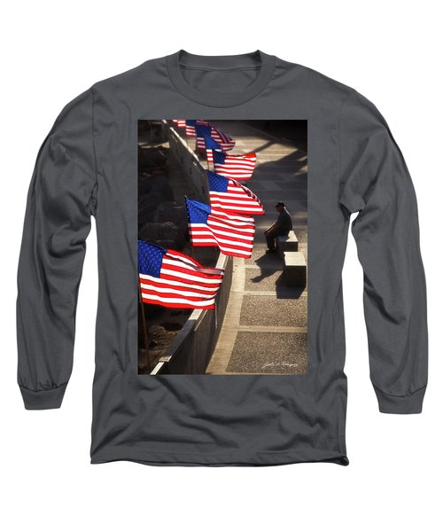 Veteran With Our Nations Flags Long Sleeve T-Shirt