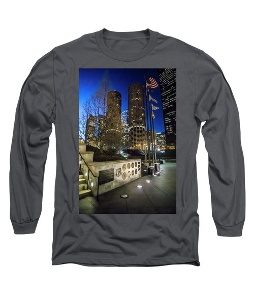 Veteran's Memorial On The Chicago Riverwalk At Dusk Long Sleeve T-Shirt