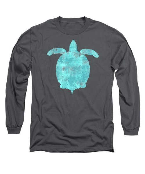 Vibrant Blue Sea Turtle Beach House Coastal Art Long Sleeve T-Shirt