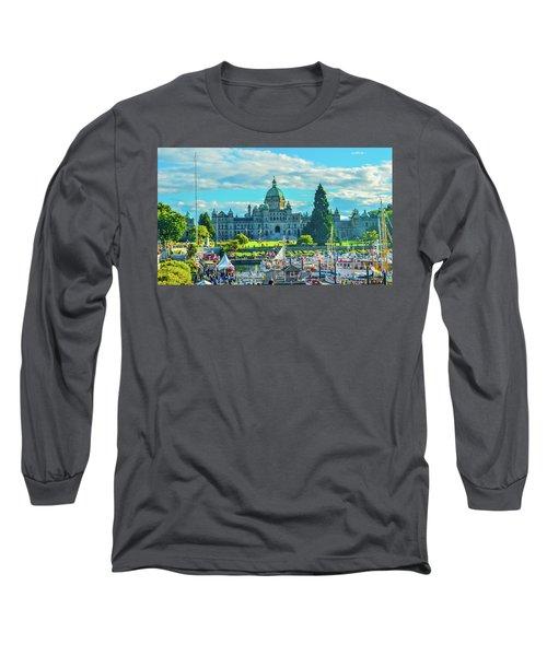 Victoria Bc Parliament Harbor Long Sleeve T-Shirt