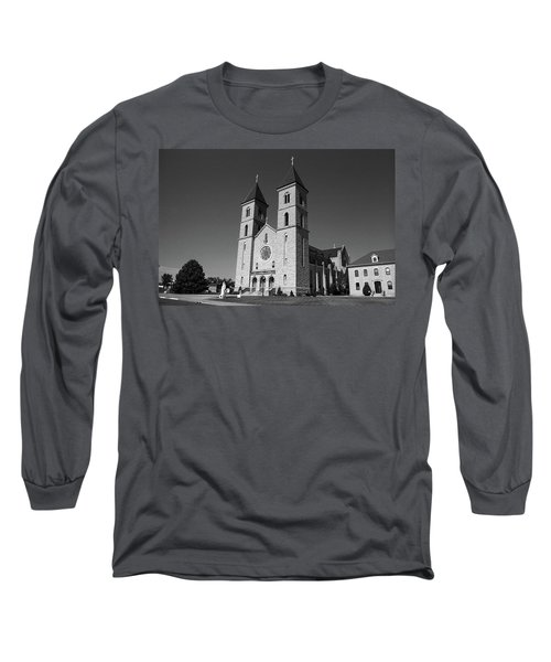 Long Sleeve T-Shirt featuring the photograph Victoria, Kansas - Cathedral Of The Plains 6 Bw by Frank Romeo