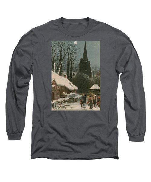 Victorian Christmas Scene With Band Playing In The Snow Long Sleeve T-Shirt