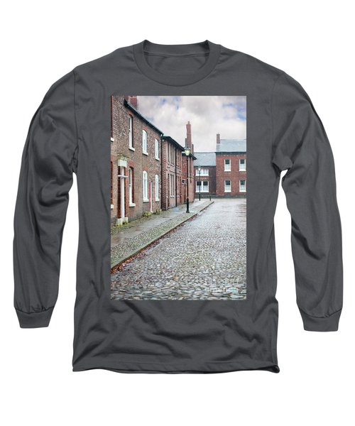 Victorian Terraced Street Of Working Class Red Brick Houses Long Sleeve T-Shirt by Lee Avison