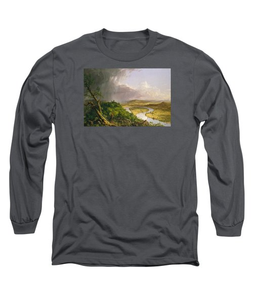 Long Sleeve T-Shirt featuring the painting View From Mount Holyoke Northampton Massachusetts After A Thunderstorm. The Oxbow by Thomas Cole