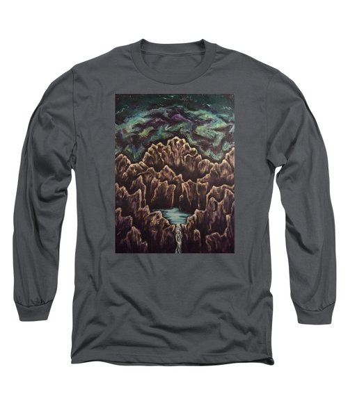 Long Sleeve T-Shirt featuring the painting View From The Top by Cheryl Pettigrew