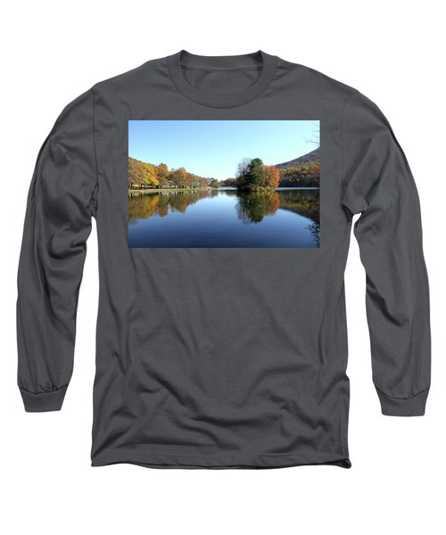 Long Sleeve T-Shirt featuring the photograph View Of Abbott Lake With Trees On Island, In Autumn by Emanuel Tanjala