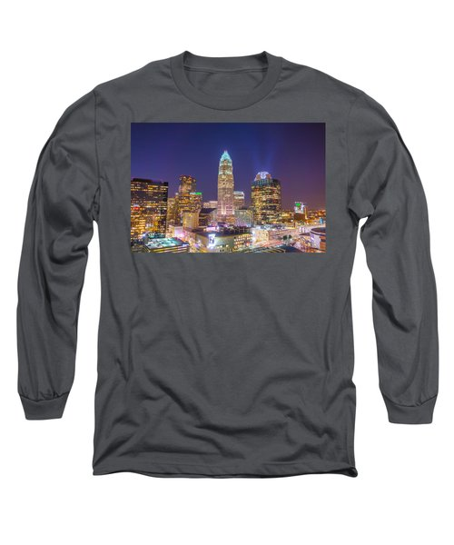 View Of Charlotte Skyline Aerial At Sunset Long Sleeve T-Shirt