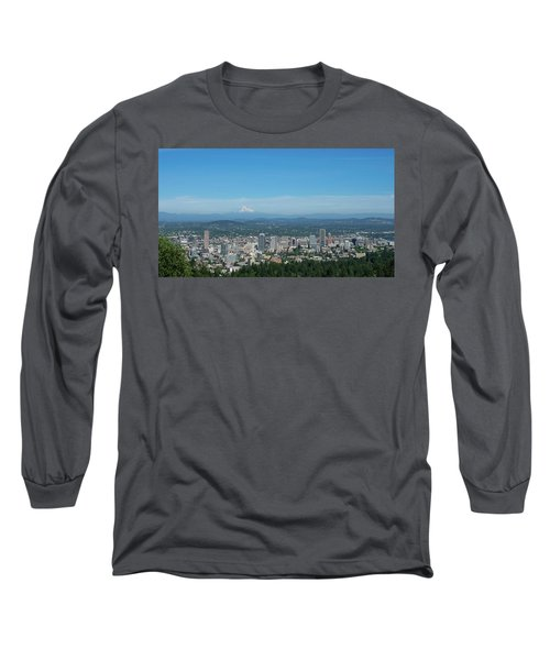 View Of Downtown Portland Oregon From Pittock Mansion Long Sleeve T-Shirt