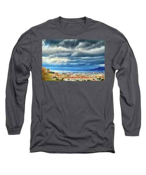 Long Sleeve T-Shirt featuring the photograph View Of Messina Strait Sicily With Dramatic Sky by Silvia Ganora