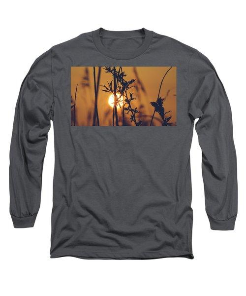 View Of Sun Setting Behind Long Grass D Long Sleeve T-Shirt
