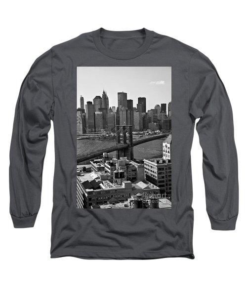 View Of The Brooklyn Bridge Long Sleeve T-Shirt by Madeline Ellis