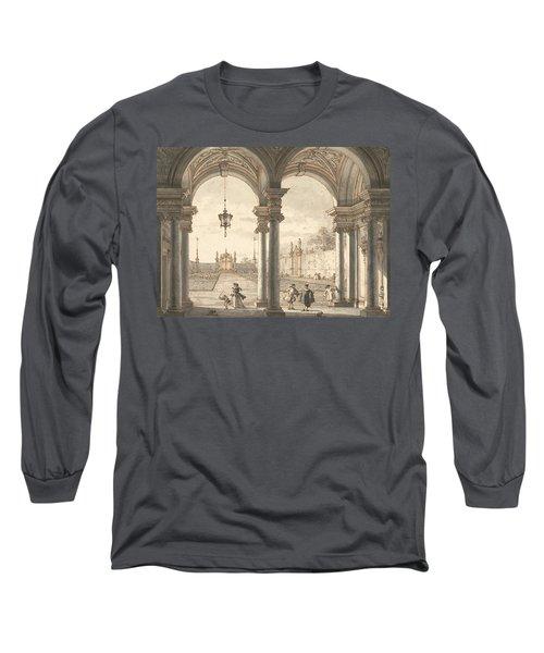 View Through A Baroque Colonnade Into A Garden Long Sleeve T-Shirt